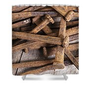 Vintage Rusty Square Nails Shower Curtain