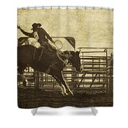 Vintage Saddle Bronc Riding Shower Curtain