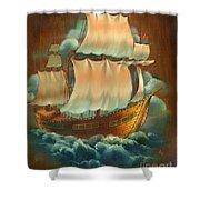 Vintage Sail On Wood Shower Curtain