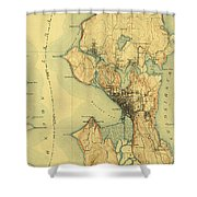 Vintage Seattle Map Shower Curtain