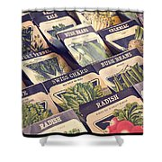 Vintage Seed Packages Shower Curtain by Edward Fielding
