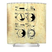 Vintage Self-winding Watch Movement Patent Shower Curtain