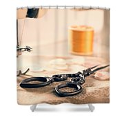 Vintage Sewing Machine Shower Curtain by Amanda Elwell