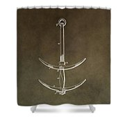Vintage Ship's Anchor Patent Shower Curtain