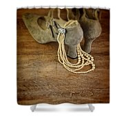 Vintage Shoes And Pearls Shower Curtain