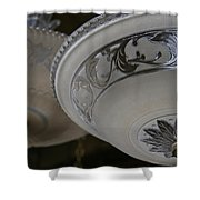 Vintage Silver And Glass Lighting Fixture Shower Curtain
