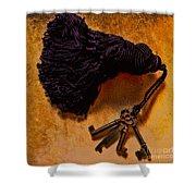 Vintage Skeleton Keys Tassled Gold Shower Curtain