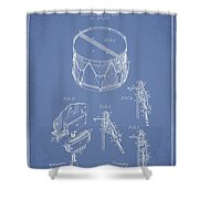 Vintage Snare Drum Patent Drawing From 1889 - Light Blue Shower Curtain