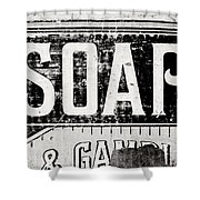 Vintage Soap Crate In Black And White Shower Curtain