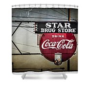 Vintage Star Drug Store Shower Curtain by Perry Webster