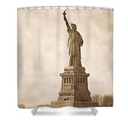 Vintage Statue Of Liberty Shower Curtain