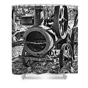 Vintage Steam Tractor Black And White Shower Curtain by Douglas Barnard