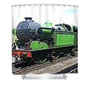 Vintage Steam Train In Green  Shower Curtain