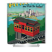 Pittsburgh Poster - Incline Shower Curtain