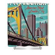 Pittsburgh Poster - Vintage Travel Bridges Shower Curtain