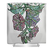 Vintage Style Stained Glass Morning Glory Shower Curtain