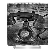 Vintage Telephone In Black And White  Shower Curtain