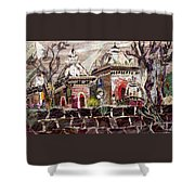 Vintage -temples  Shower Curtain