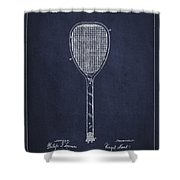 Vintage Tennnis Racket Patent Drawing From 1887-navy Blue Shower Curtain