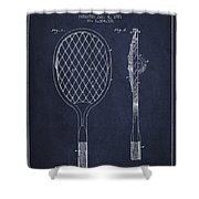 Vintage Tennnis Racket Patent Drawing From 1921 - Navy Blue Shower Curtain