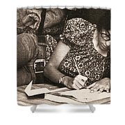 Vintage Young Woman Writing  Shower Curtain