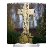 Vintage Tombstone Cross Shower Curtain