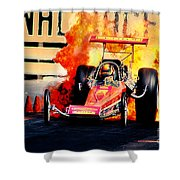 Vintage Top Fuel Dragster Fire Burnout-wild Bill Carter Shower Curtain