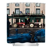 Vintage Tractors Lined Shower Curtain