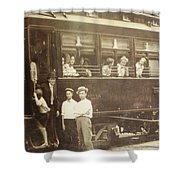 Vintage Train All Aboard Shower Curtain