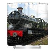 Vintage Train Black Steam Engine Shower Curtain