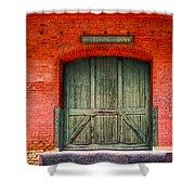 Vintage Train Depot Receiving Door - Augusta Shower Curtain by Mark E Tisdale
