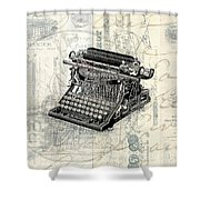 Vintage Typewriter French Letters Square Format Shower Curtain