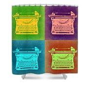 Vintage Typewriter Pop Art 1 Shower Curtain