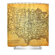 Vintage United States Highway System Map On Worn Canvas Shower Curtain
