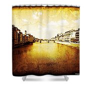 Vintage View Of River Arno Shower Curtain