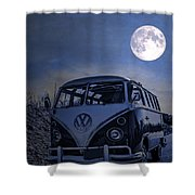 Vintage Vw Bus Parked At The Beach Under The Moonlight Shower Curtain