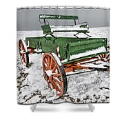 Vintage Wagon In The Snow E98 Shower Curtain