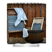 Vintage Washboard Laundry Day Shower Curtain