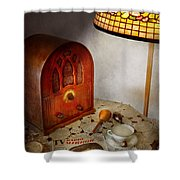 Vintage - What's On The Radio Tonight Shower Curtain by Mike Savad