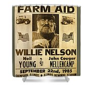 Vintage Willie Nelson 1985 Farm Aid Poster Shower Curtain