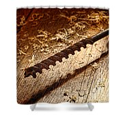 Vintage Wood Drill Shower Curtain