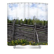 Vintage Wooden Fence Shower Curtain