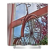 Vintage Wrought Iron Bike In Window Art Prints Shower Curtain