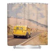 Vintage Yellowstone Bus Shower Curtain