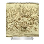 Vintage Yosemite Map 1870 Shower Curtain