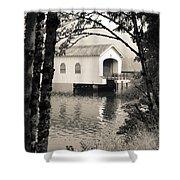 Vintaged Covered Bridge Shower Curtain