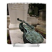 Violen Sculpture In Pere Lachaise Cemetery Shower Curtain