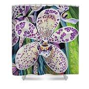 Violet Dotted Orchid Shower Curtain
