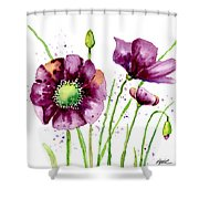 Violet Poppies Shower Curtain
