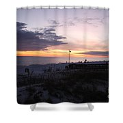 Violet Sunset Over The Sea Shower Curtain